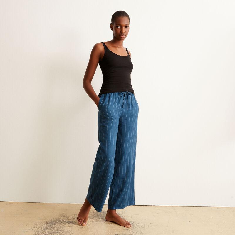 Pantalón ancho de franela a rayas - azul ;