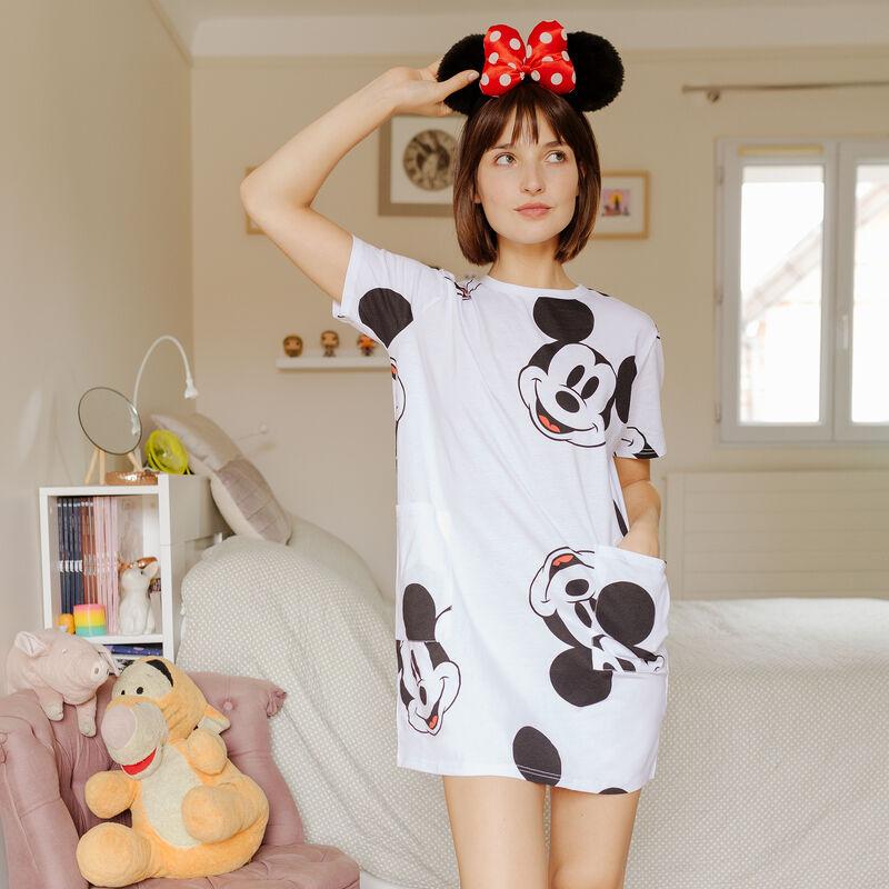 Camiseta larga con bolsillos Mickey - blanca;