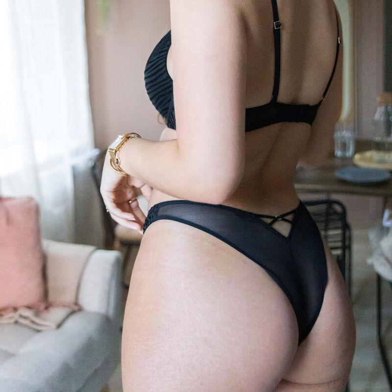 sujetador push-up de tul con cintas - negro;