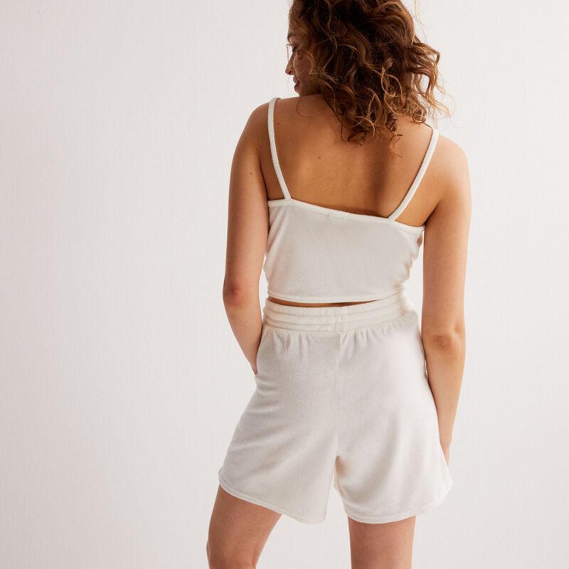 Shorts de baño efecto boyfriend de terciopelo - crudo;