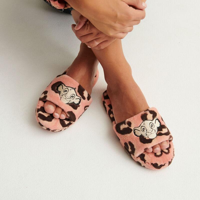 pantuflas con estampados del rey león - rosa;