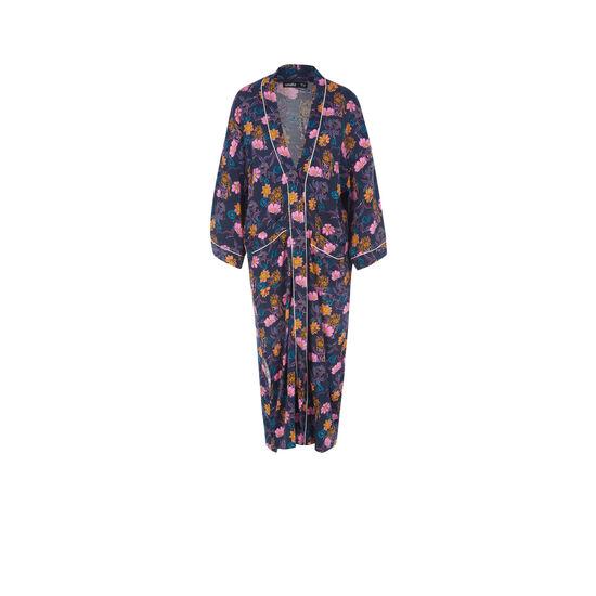 Kimono azul oscuro floritriz;