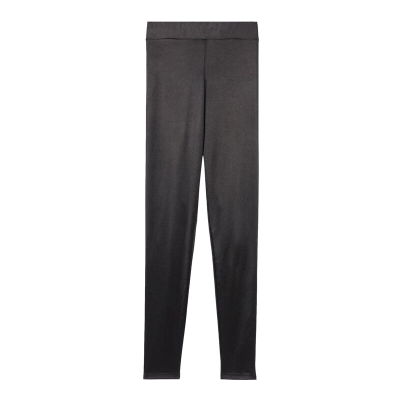 leggings lisos de satén - negro;