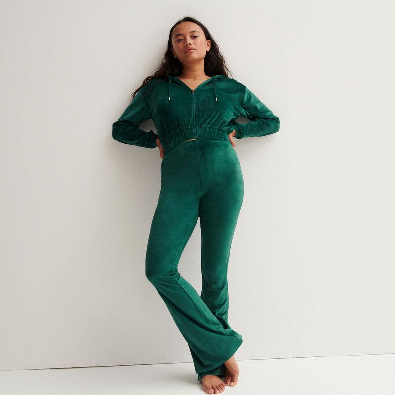 chaqueta crop de terciopelo con talle elástico - verde pino;