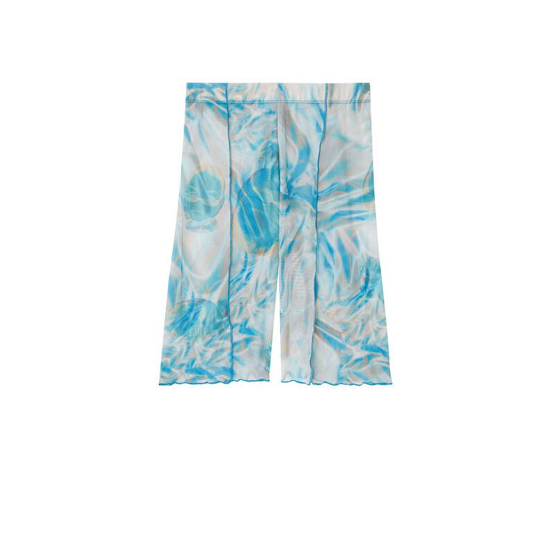 Ciclista de rejilla Aya x undiz con estampado smocke - azul;