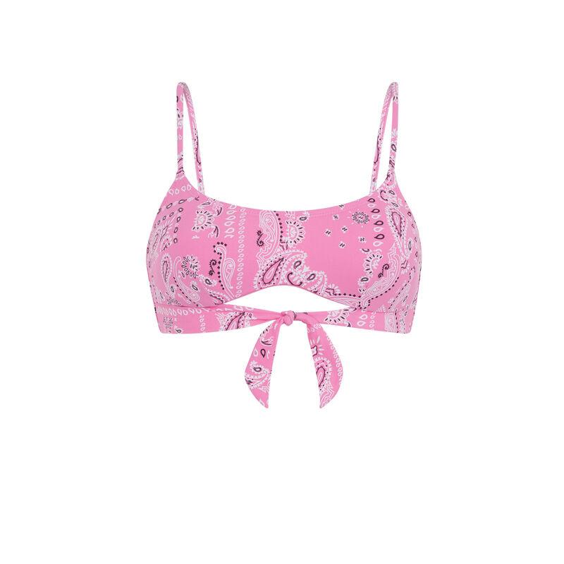 Parte de arriba de bañador bralette con estampado de bandana - rosa;