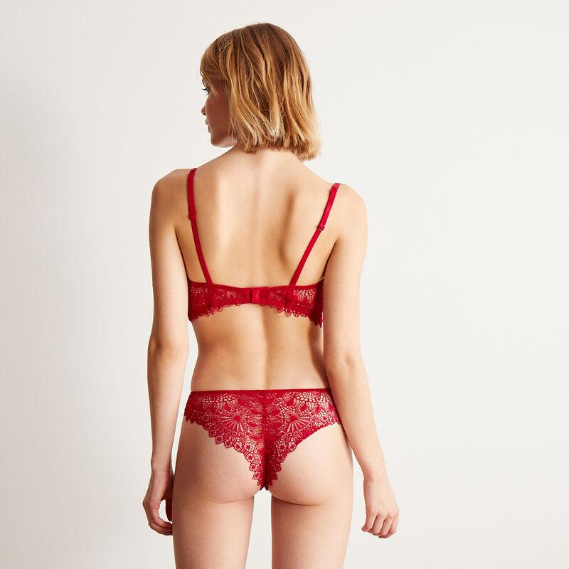 Braguita brasileña de encaje con detalle de bisutería - roja;