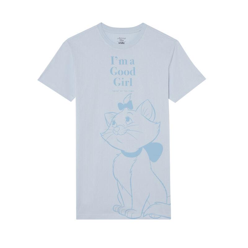camiseta larga con estampado de Marie de los Aristogatos - celeste;