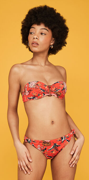Top de bikini bandeau tropical spaniz red.