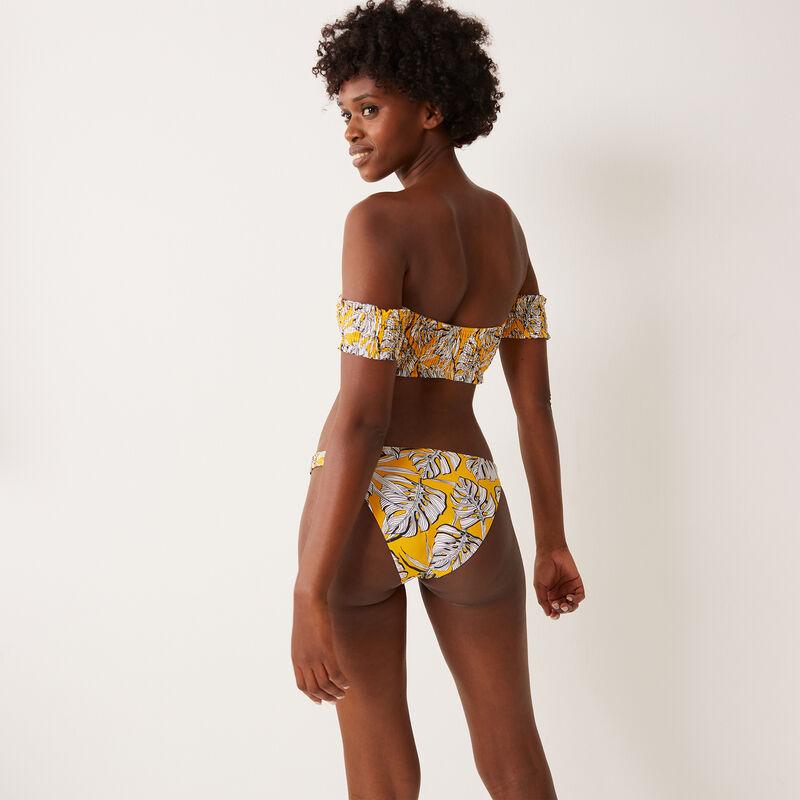Parte de bañador con detalles fruncidos y dibujos de palmera - amarillo;