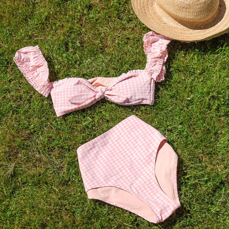 Parte de arriba de bikini sujetador de cuadros - rosa;