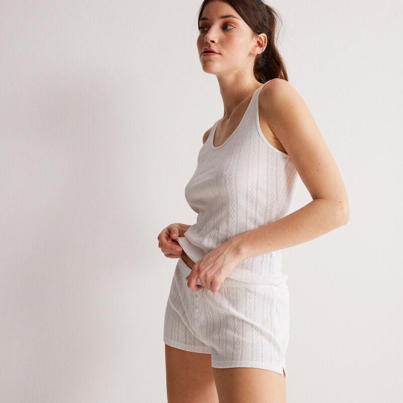 camiseta sin mangas lisa de punto con puntitos - blanca;