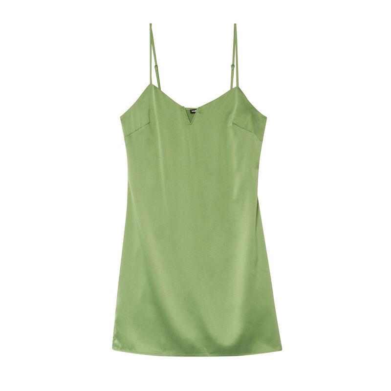 vestido de satén escotado con armadura - verde;