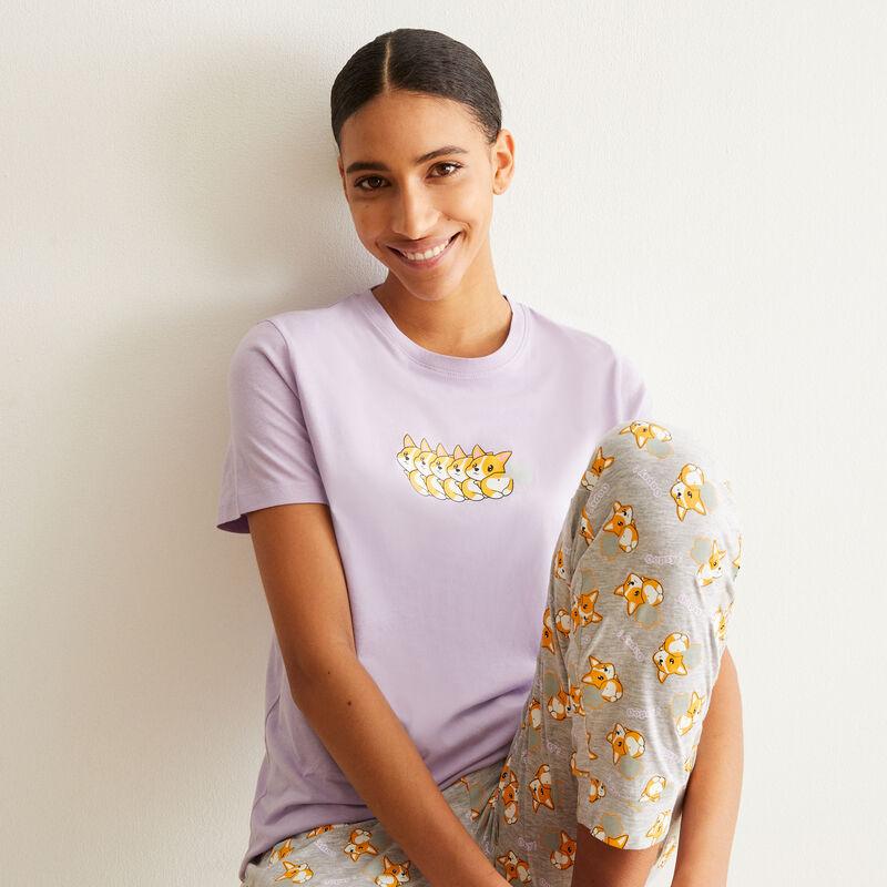 juego de pijama de manga corta con estampado de corgi - violeta;