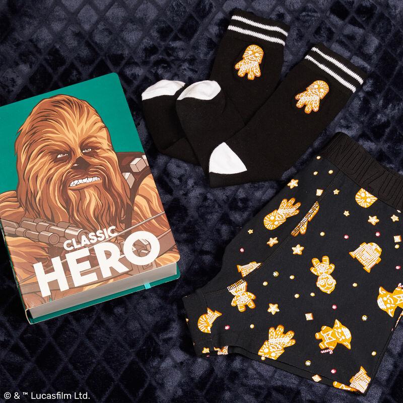 dúo bóxer y calcetines con estampado de Chewbacca - negro;