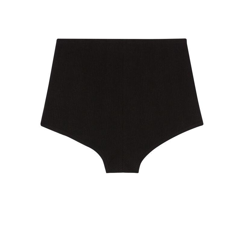 shorts de punto con detalle de corsé - negro;