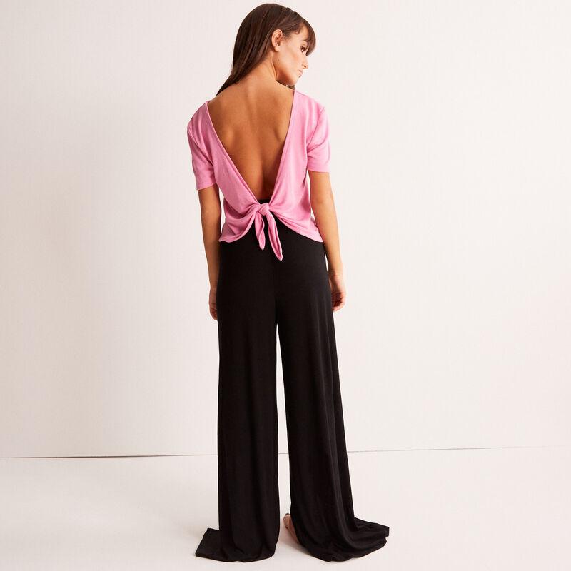 Pantalón ancho con apertura - negro;