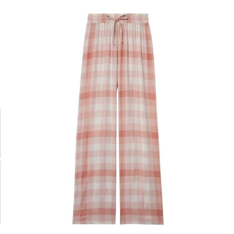 pantalón de cuadros de cintura amplia fruncida y anudada - caramelo;