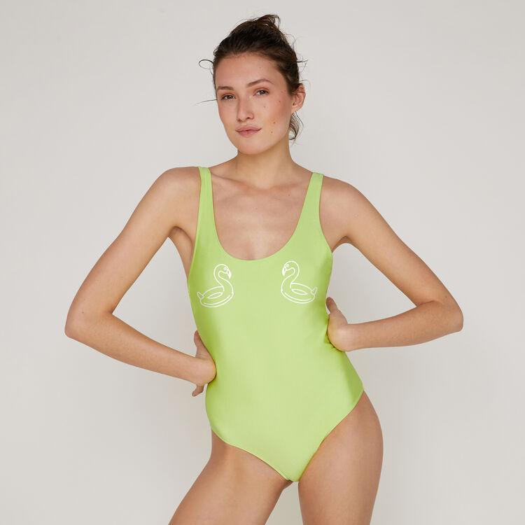 Bañador de una pieza verde flúor flamingiz;