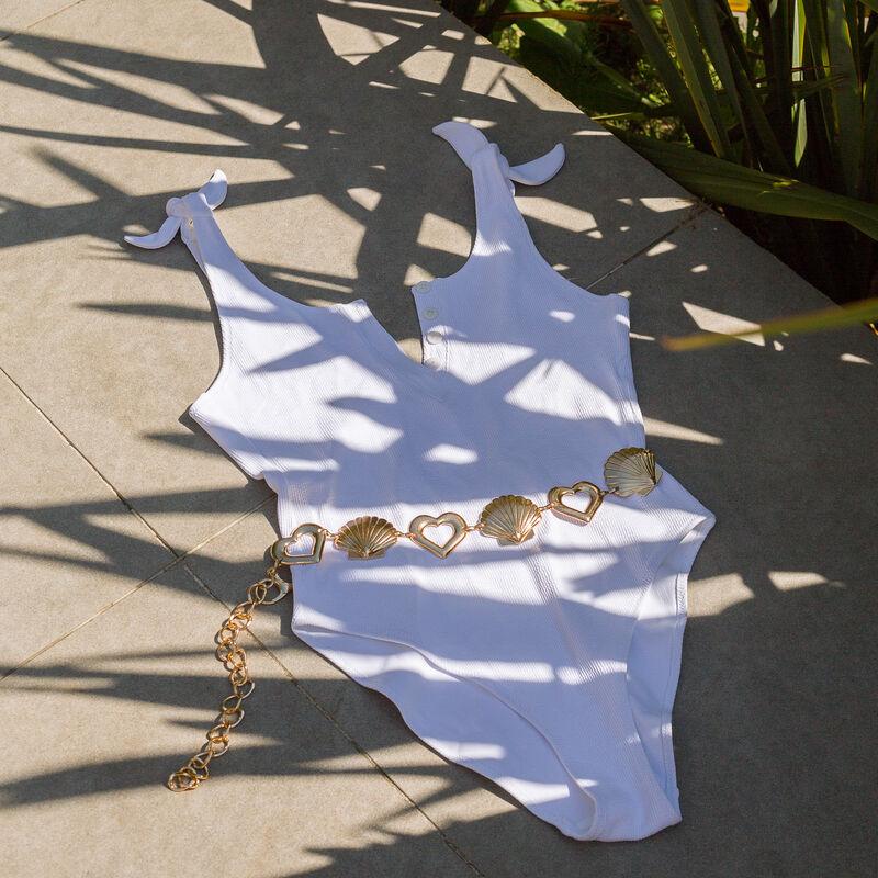 Bañador de una pieza atado a los hombros - blanco;
