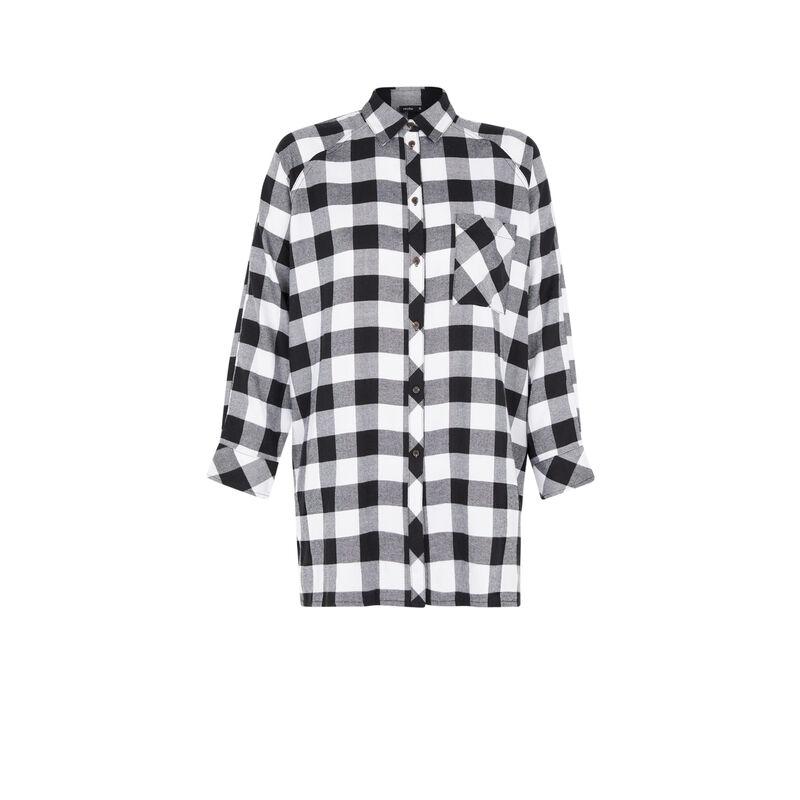 camiseta larga a cuadros - negro;