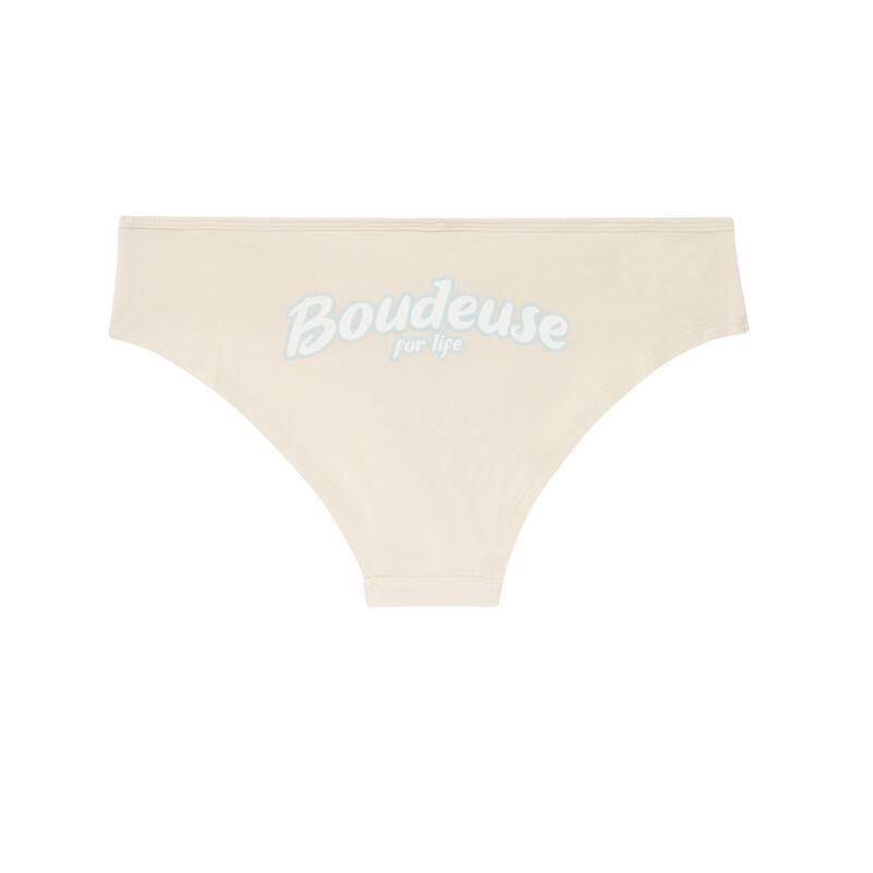"Braguita culotte ""boudeuse for life"" - blanco roto;"
