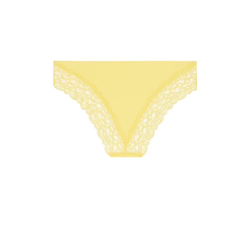 Braguita culotte lisa de microfibra amarillo pastel;