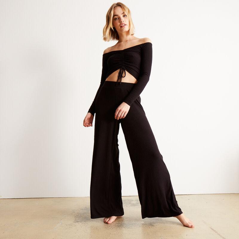 pantalón de malla con cintura elástica - negro;