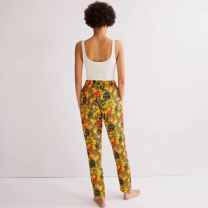 Pantalón con motivos tropicales - negro;