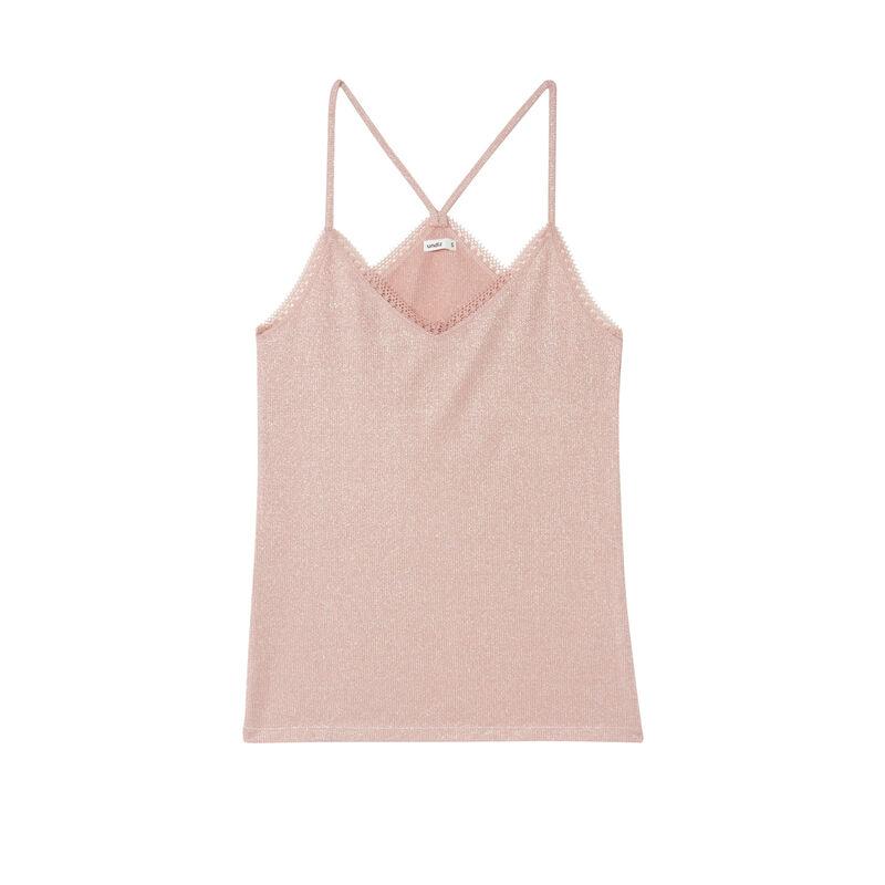 top de lentejuelas con bordes de encaje - rosa nude;