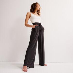 Pantalón ancho con efecto piel de melocotón - negro