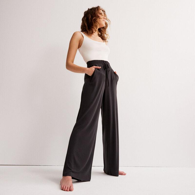 Pantalón ancho con efecto piel de melocotón - negro;