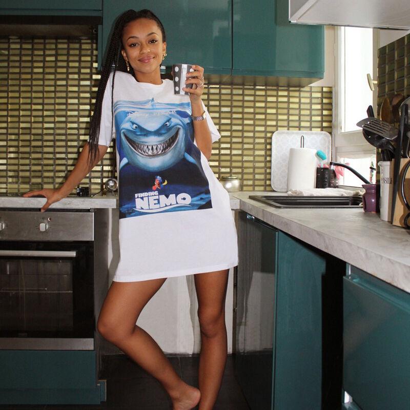 Camiseta larga de manga corta Nemo - blanca;