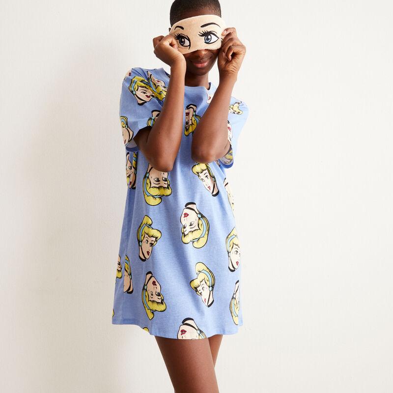 juego pijama camiseta larga y antifaz de Cenicienta - azul;
