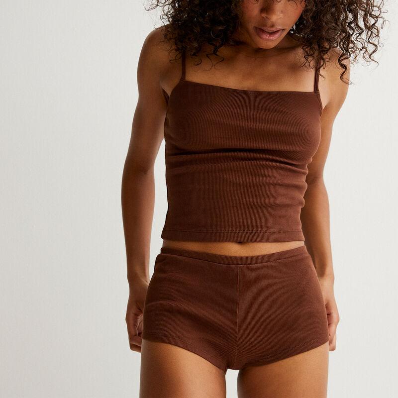 Conjunto de pijama liso - marrón;