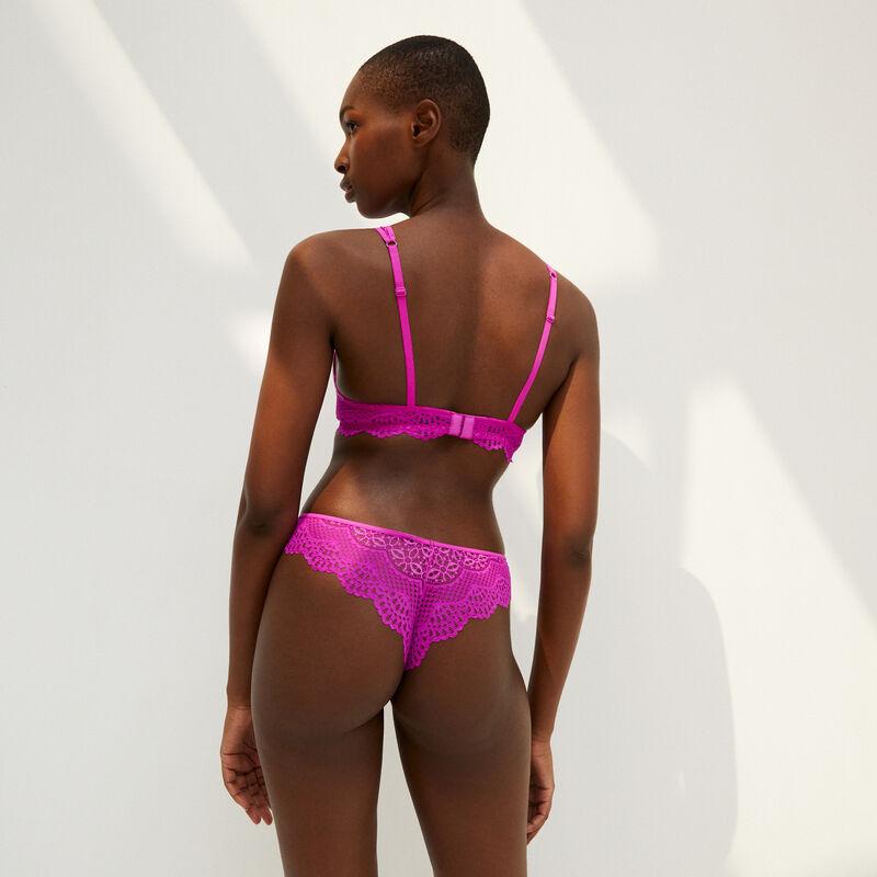 Braguita brasileña de encaje con detalles - rosa;