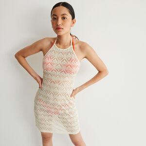 vestido de encaje con espalda abierta y anudado - crudo