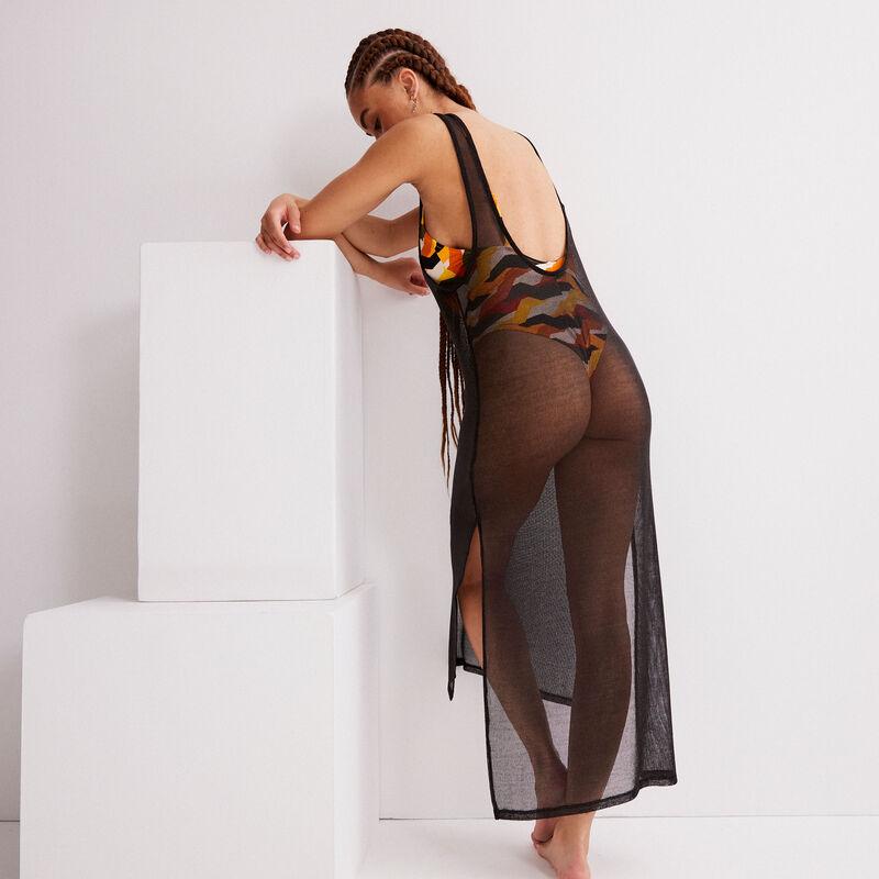 Vestido semilargo transparente - negro;