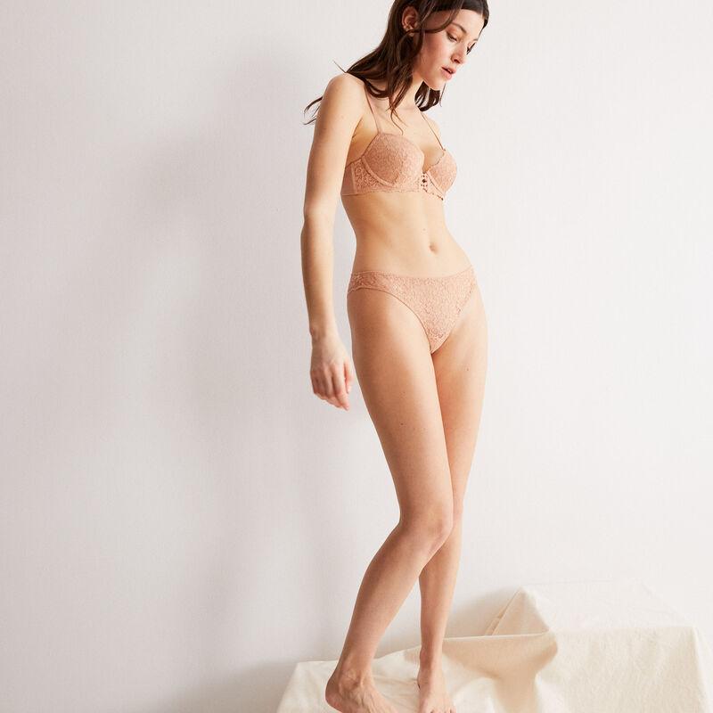 braguita brasileña de encaje de flores - beige nude;