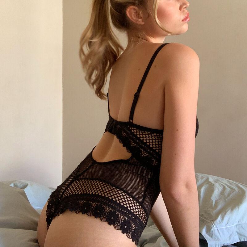 Body de aumento con detalle de joya - negro;