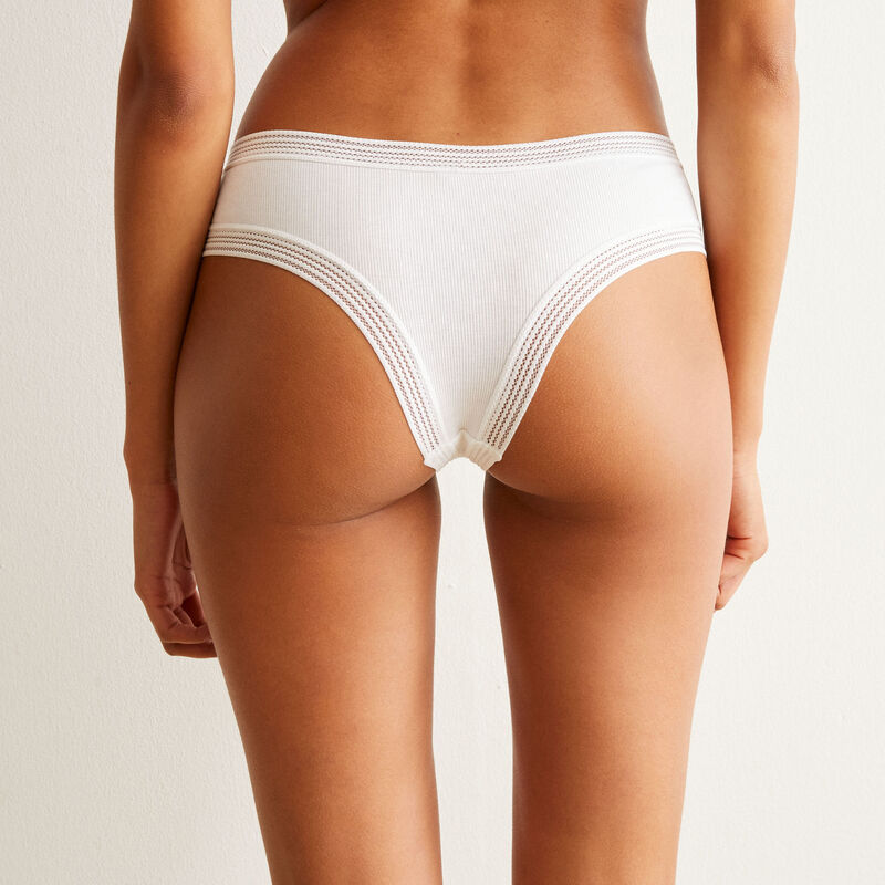 shorty à bordures dentelle - blanc;