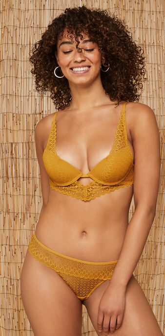Sujetador bustier push-up mostaza kensiz yellow.