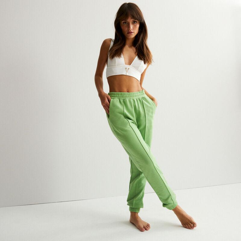 pantalón cintura fruncida con detalle de costura - verde;