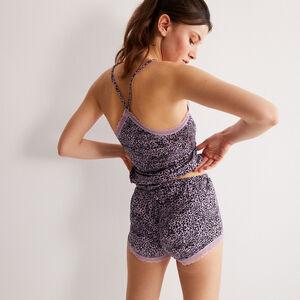 shorts con estampado de leopardo de punto - lila
