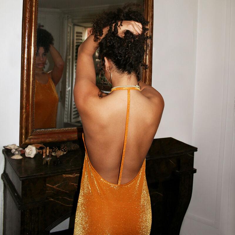 Vestido de playa con espalda abierta - naranja;