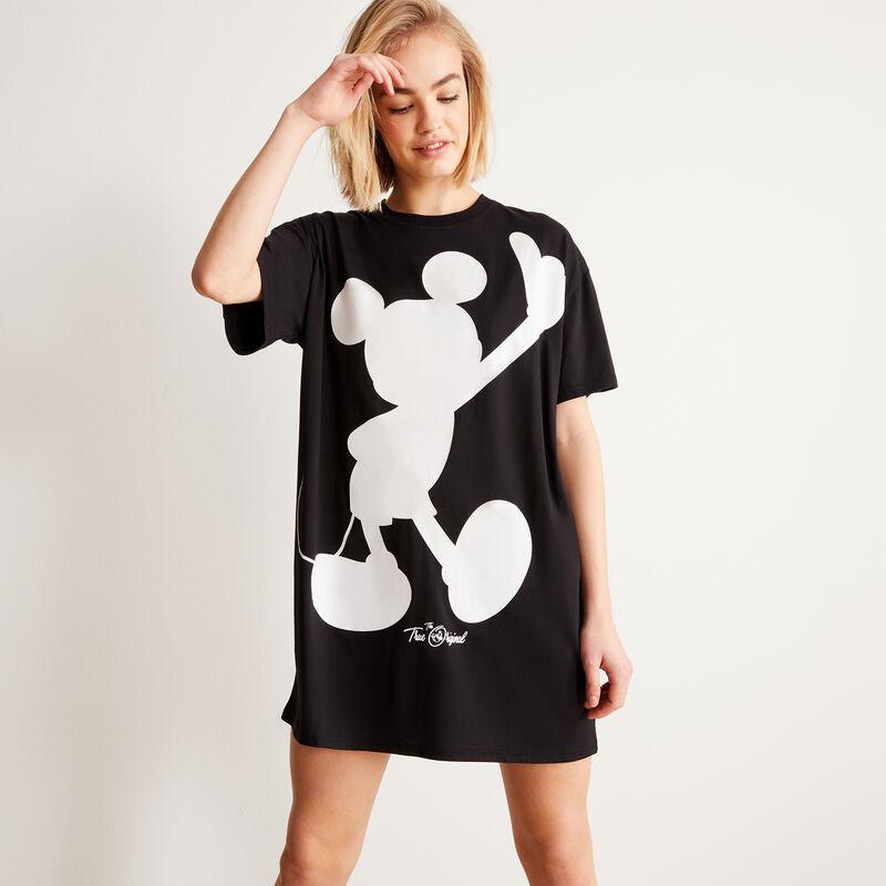 Camiseta larga con estampado de Mickey - negra;