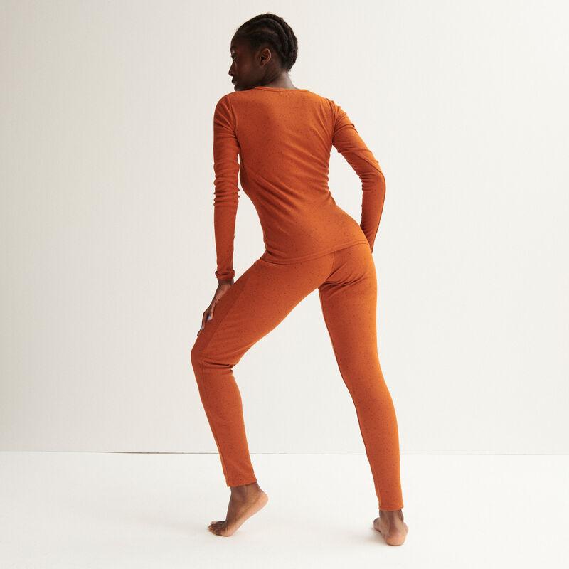 leggings acanalados moteados - camel;