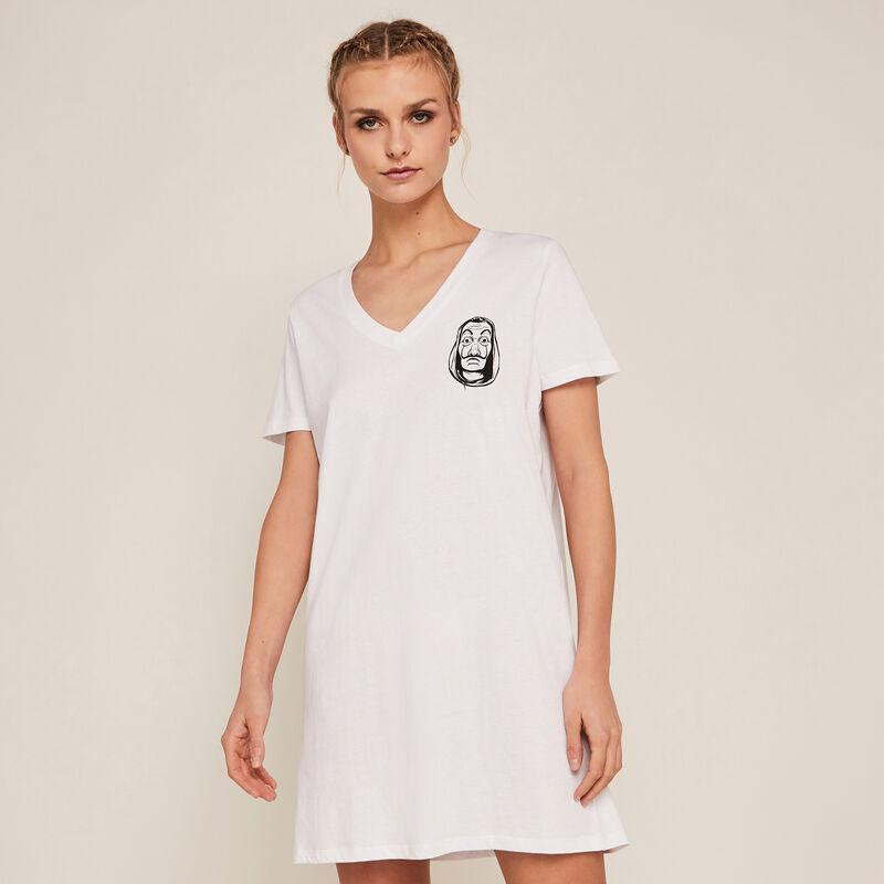 Camiseta larga de manga corta La Casa de Papel - blanca;