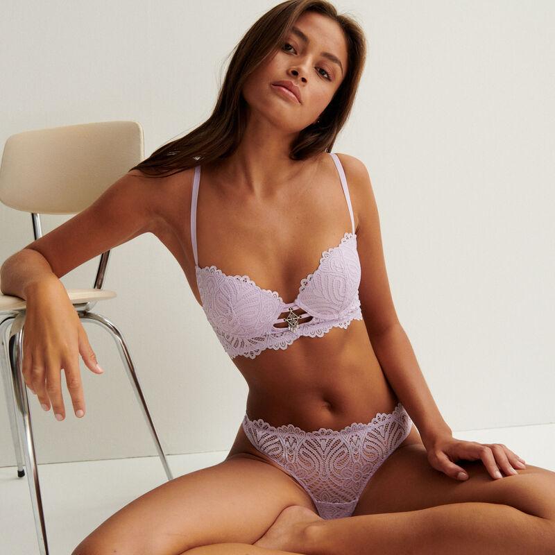 sujetador corpiño de aumento con detalle de bisutería - lila;