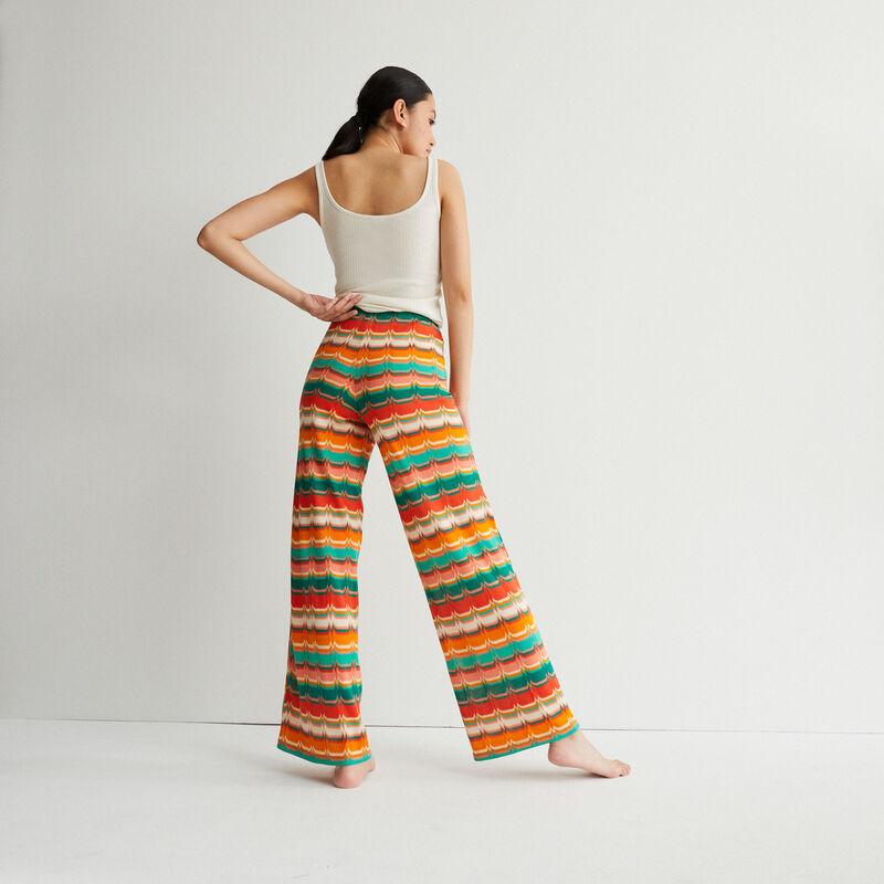 pantalón anudado con motivos - verde;